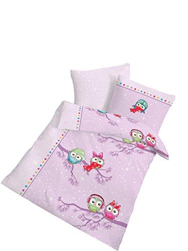 IDO Parure de lit en flanelle « chouette » 40 x 60 / 100 x 135 cm, multicolore
