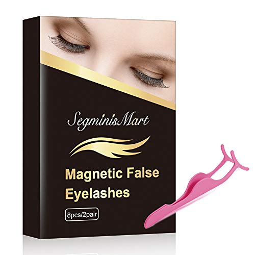 Magnetic Eyelashes,Reusable Magnetic False Eyelashes 3D Magnets Eyelashes with Tweezers Set