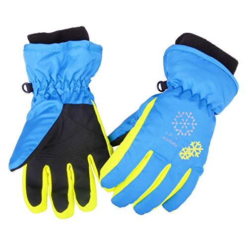 Azarxis Kids Guantes de Nieve Guantes de esquí de Invierno Impermeable a Prueba de Viento para niños Girl Boy Snowboarding Trineo Ciclismo Esquí de montaña con puños Ajustables (Azul, S (6-8 años))