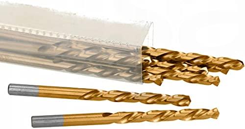 ARTPOL Juego de 10 brocas de metal HSS-TiN, 2,3 mm, acero r�