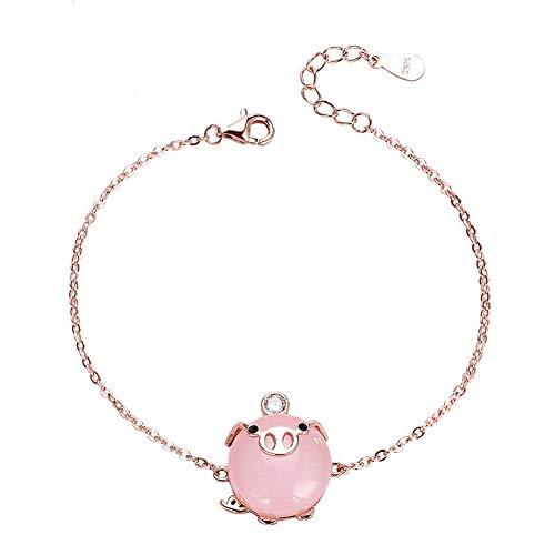 YAZILIND S925 Sterling Silver Birth Year Pink Pig Bracelet Women Girls Birthday Jewellery Gift