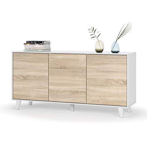 Mobile credenza buffet moderno soggiorno salotto camera letto ROVERE+BIANCO 154 X 41 X 63 cm - 0F6638BO
