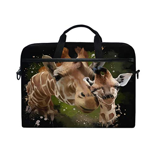 HaJie Laptop Bag African Wildlife Animal Giraffe Print Computer Case 14-14.5 in Protective Bag Travel Briefcase with Shoulder Strap for Men Women Boy Girls