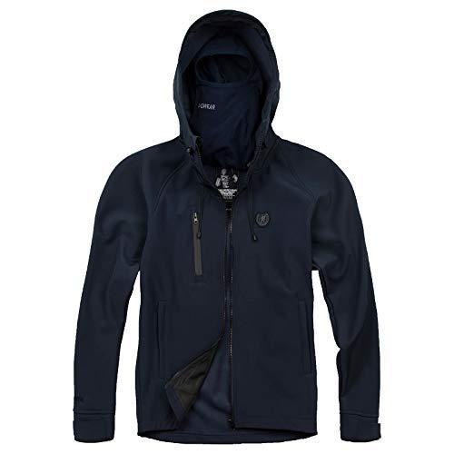 PG Wear Herren Full Face Softshelljacke Aggressive mit Sturmhaube schwarz Navy (XL, Navy)