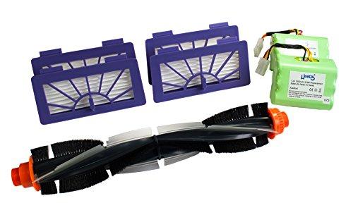 Hannets Premium Zubehör Set 4X HEPA Filter, 1x Rundbürste und 2X Neato Ersatzakku 3500mah 7,2V passend für Modell Neato XV Signature Pro, 945-0005, 945-0006, XV Essential, XV-12, XV-15, XV-11