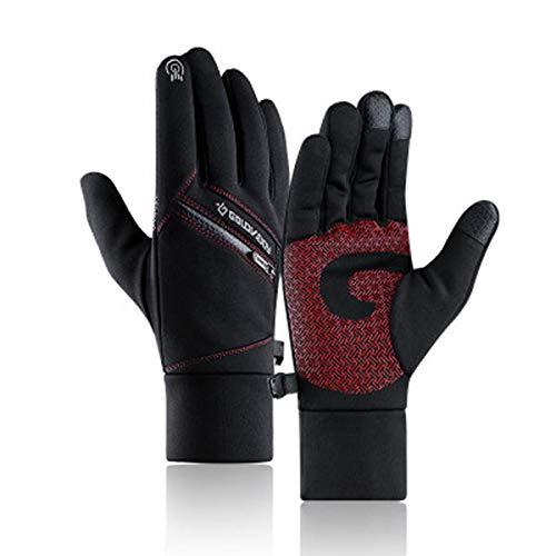 HTQZW -Negro Rojo Caliente del Invierno Guantes de la Pantalla Multi-Touch con Fines Bolsillo de la Cremallera Impermeable Dedo Lleno Manoplas Antideslizantes (Color : 2XL)