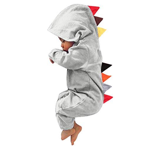 Combinaisons de Bébé - Nouveau-né Infantile Bébé Garçon Fille Dinosaure À Capuche Romper Combinaison Costumes Vêtements de Nuit - Body bébé Ba Zha Hei (18-24 Mois, 2-Gris)