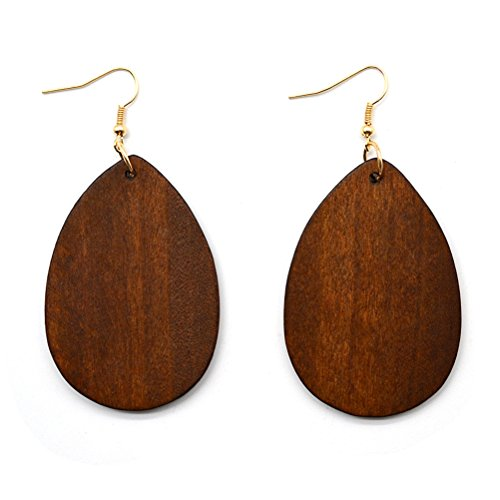 OULII Orecchini con ciondoli in legno a forma di goccia in Marrone per Regalo di Festa della Mamma