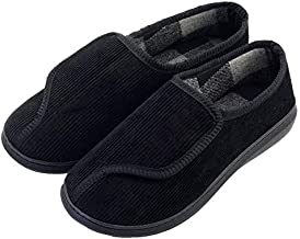 Mens Memory Foam Diabetic Slippers Extra Wide Comfy with Coral Fleece Lining Size 12 Black for Arthritis Edema Swollen Feet House Shoes