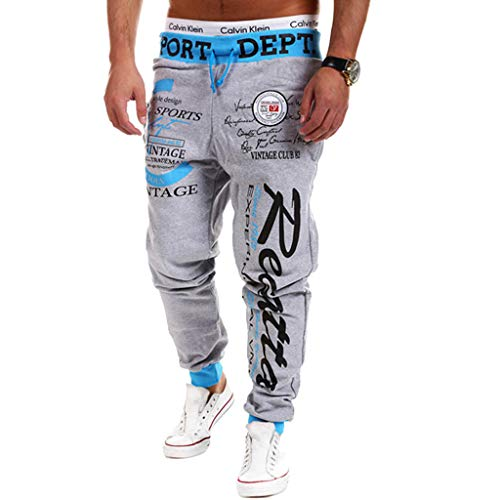 Cottory Men's Hip hop Loose Sweatpants Graffiti Sports Jogger Trousers Blue Grey X-Large