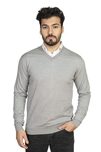 AlphaUomo Herren Essential V-Ausschnitt Sweater 100% italienische Zegna Baruffa Merino Wolle Classic Langarm Pullover - Grau - Klein