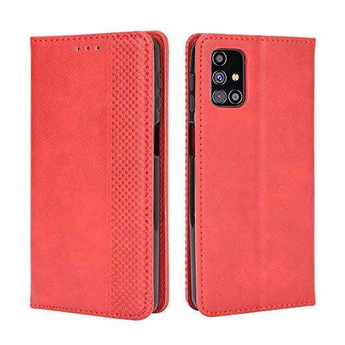 BaiFu Lederhülle für Samsung Galaxy M31s Hülle, Flip Hülle Schutzhülle Handy mit Kartenfach Stand & Magnet Funktion als Brieftasche, Tasche Cover Etui Handyhülle für Samsung Galaxy M31s, Rot