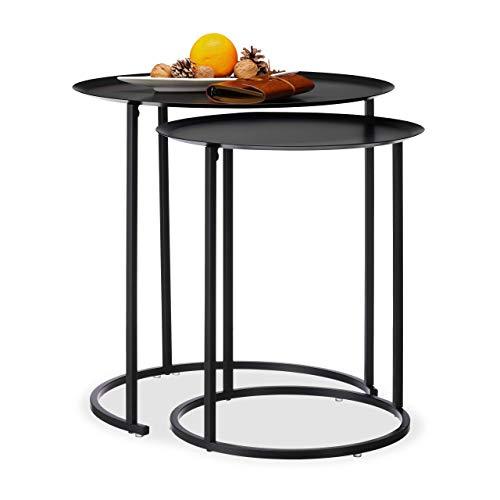 Relaxdays ronde bijzettafel in 2-delige set, verhoogde rand, salontafel, stalen onderstel, tafelset, h x d: 50 x 50 cm, antraciet