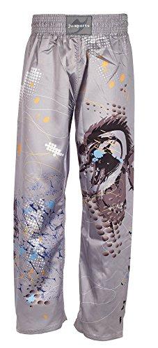 Ju-Sports - Pantaloni da Kickbox, Grigio (Grigio/colorato), 190