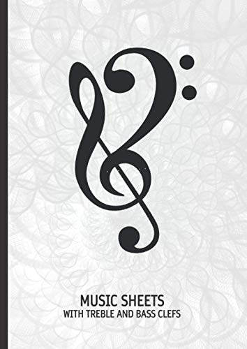 Music Sheets with treble and bass clef: 12 x 8.5mm staves wi