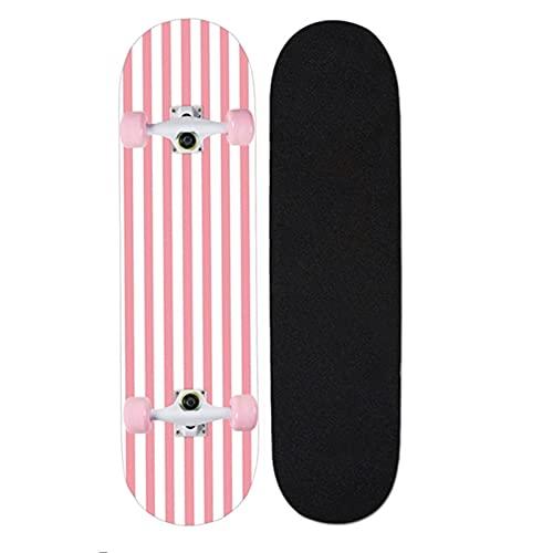 """QUNHU Skateboards, 31""""X8 Skateboard Completo para niños Adolescentes y Adultos, 7 Capas Canadiense Maple Wood Doble Patada Cubierta Concave Standard and Tricks Skateboard (Color : H)"""