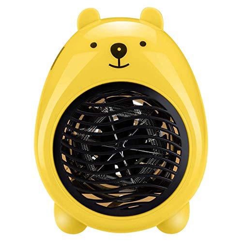 Ventilador eléctrico para calefacción doméstica, portátil, pequeño radiador de mesa interior, para el calentador de interior, color amarillo