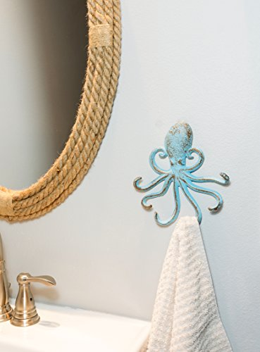 Stonebriar Decorative Cast Iron Octopus Multiple Hook Wall, BLUE