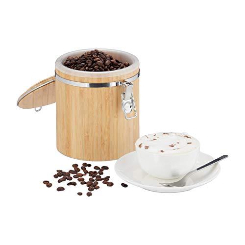 Relaxdays, natuur koffieblik bamboe, voorraaddoos met deksel, binnenbak, beugelsluiting, aromadicht, h x d: 15 x 14 cm