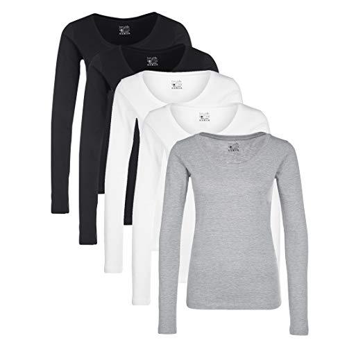 Berydale Round Neck 3-Pack t Shirt, Multicolore (Nero/Bianco/Grigio/Navy), S, Pacco da 3
