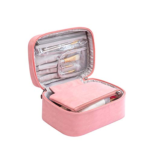 Travel Makeup Bag Cosmetic Bag Organizer With Makeup Brush Holder Portable Make Up Case for Purse Toiletry Shower Storage Bag for Woman/Girls (Pink)