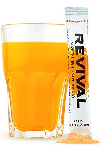 Revival, Rehidratación Rápida: Polvo de electrolitos - Potente Suplemento de Vitamina C, Bebida de Rehidratación, Tabletas Efervescentes para la Hidratación y Resaca Cura - Naranja 6 Paquete