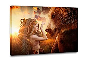 Native American Indian Girl Wall Art Canvas Painting Women Get Along with the brown bear Outdoor Field Modern Poster Picture Verical Artwork Home Decor for Living Room 1 Piece  16  Wx24 H