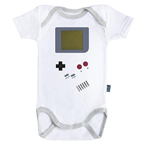 Baby Geek Gameboy - Body Bébé Manches Courtes - Coton - Blanc - Coutures Grises (6-12 Mois)