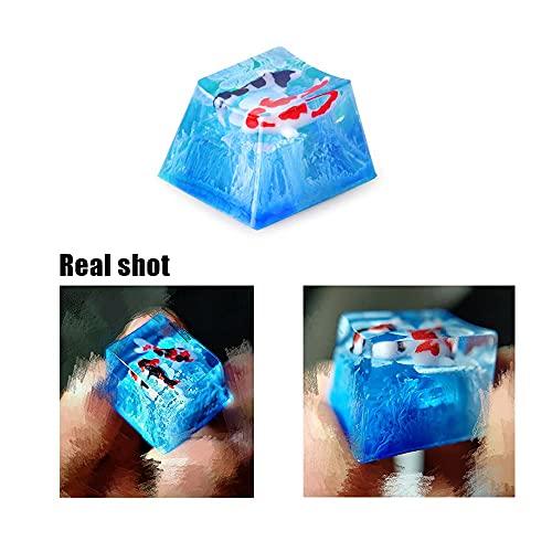 Blue Backlit Key Cap for Cherry MX Mechanical Koi Fish Resin Artisan Keycaps 1U Gift
