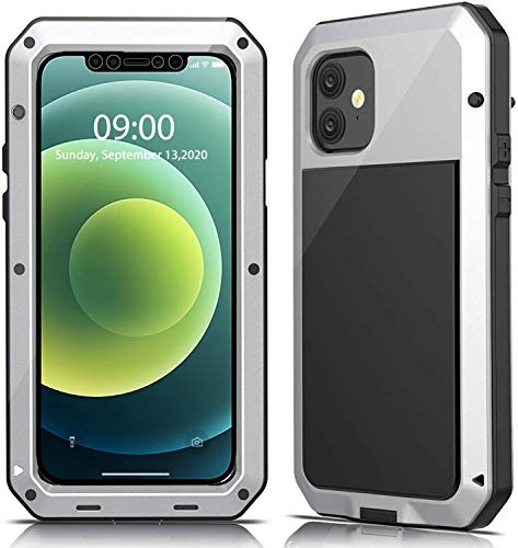"""Mangix Compatible with iPhone 12 Case and iPhone 12 Pro Case (2020), Built-in Glass Screen Protector Military Grade Drop Shock Protection Metal Bumper for Apple iPhone 12/12 Pro 6.1""""(Silver)"""