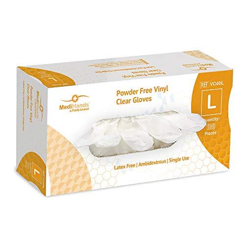 MediHands Lot de 100 gants en vinyle transparent sans poudre pour aliments, jetables, sans latex, grand format