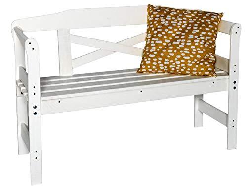 AVANTI TRENDSTORE - Olivia - Panca da Balcone/Giardino in Legno di Pino Massiccio, con Schienale e poggiabraccia. Dimensioni Lap 75x92x92 cm (Bianco)