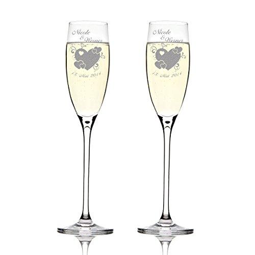 Deux flûtes LEONARDO Cheers Gravure motif : Grand Cœur avec petits coeurs et geschnörkel