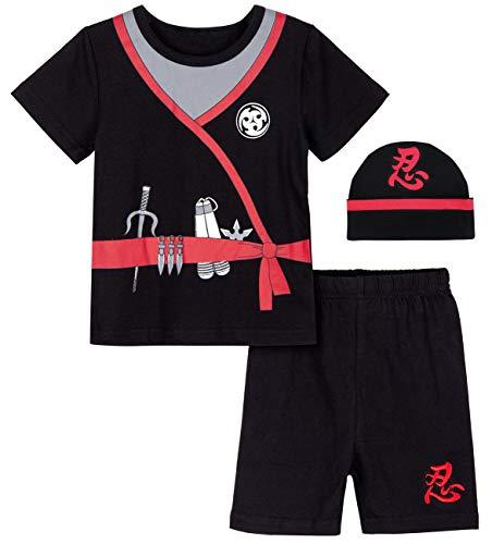 COSLAND Infant Baby Boys' Halloween Ninja Costume, Black, 12-18 Months