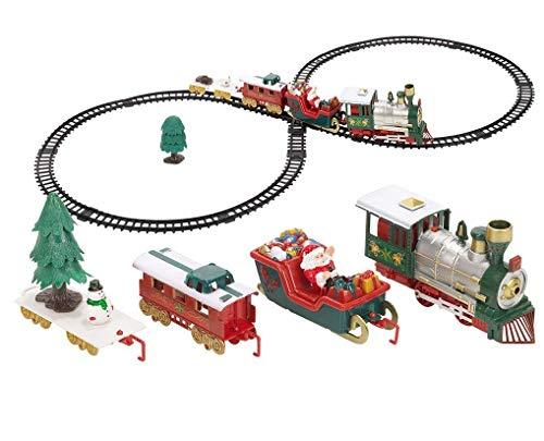 ILOVEDIY Weihnachten Zug Spielzeug Elektrisch Eisenbahnstrecke Weihnachtszug mit Licht- und Soundeffekte