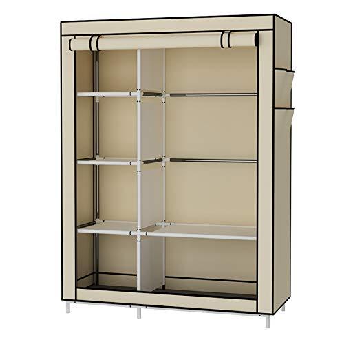 UDEAR Armario Closet Organizador Plegable para Ropa Ropero Resistente al Polvo Guardarropa Beige 105 x 45 x 170 CM