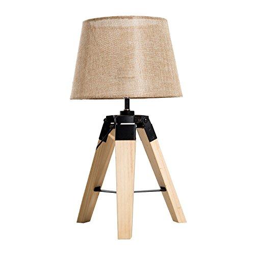 HOMCOM Tischleuchte Tischlampe Nachttischlampe E27 Leinenoptik, Kiefer+Polyester, 24x24x45cm (Beige)