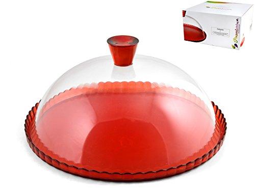 PASABAHCE 95198 Patisserie Assiette avec dôme, Transparent/Rouge