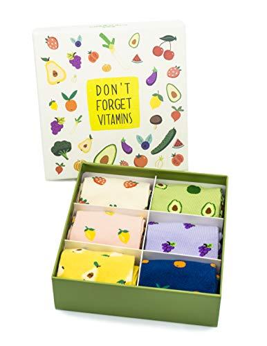 Caramella lustige Sockenbox, bestes Socken Geschenk für Fre&e & Familie für besonderen Anlass, 6 Paar bunte Socken (Obst)
