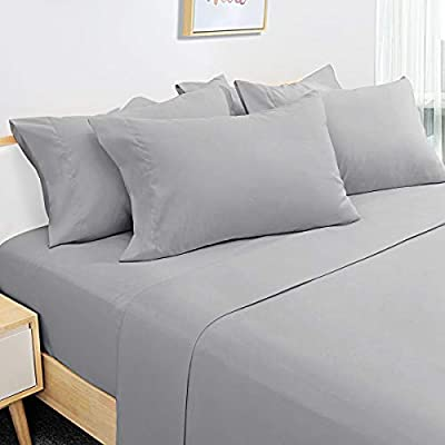 HOMEIDEAS 6 Piece Bed Sheets Set Extra Soft Brushed Microfiber 1800 Bedding Sheets Deep Pocket, Wrinkle & Fade Free (Queen,Light Gray)