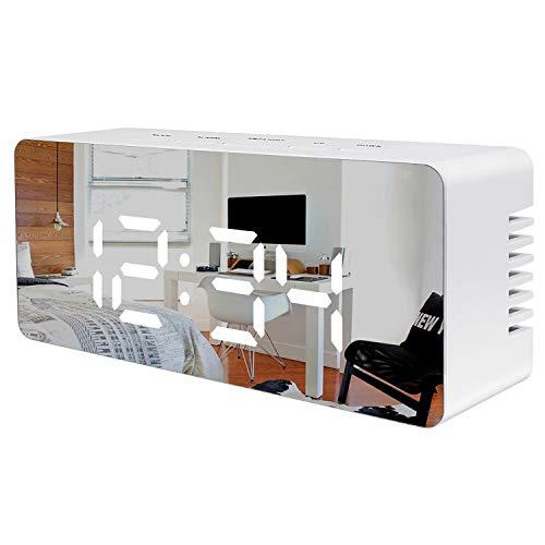 Juboos Despertador Digital, Despertador Digital LED Espejo Despertador de Viaje USB con Repetición/Fecha/Temperatura para Dormitorio Oficina Noche Niños y Adultos (Negro)