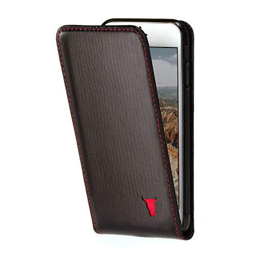 TORRO Vertikale Klapphülle Kompatibel mit Apple iPhone 6S und iPhone 6 hochwertiges Leder mit [Karten Steckfächern] [strapazierfähiger Rahmen] 4.7 Zoll (Schwarz)