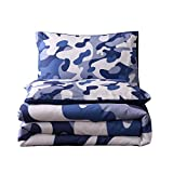 Holawakaka Queen Size Camouflage Comforter Set, Boys Girls Men Camo Quilted Bedding Sets Neutral Farmhouse Lodge Cabin Army Bedspread (Blue, Queen)…