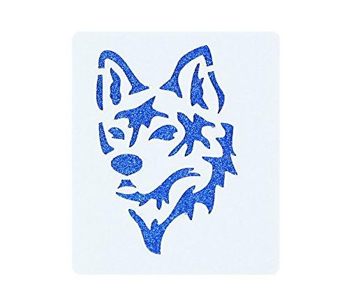 Wolf Dog Face Painting Stencil 7cm x 6cm 190micron Washable Reusable Mylar
