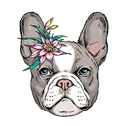 Temporary Tattoos 6 Sheets French Bulldog Puppy Sketch Portrait of a Dog an Exotic Flower Tattoo Stickers for Adult Kids Women Men Arms Legs Chest Waist Neck 3.7 X 3.7 Inch Flower Tattoo