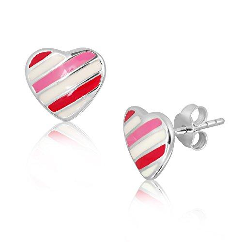 WithLoveSilver de plata de ley 925rayas esmalte Puff Corazón Amor Stud Pendientes