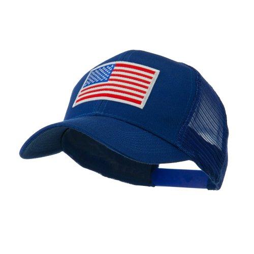 6 Panel Mesh American Flag White Patch Cap - Royal OSFM