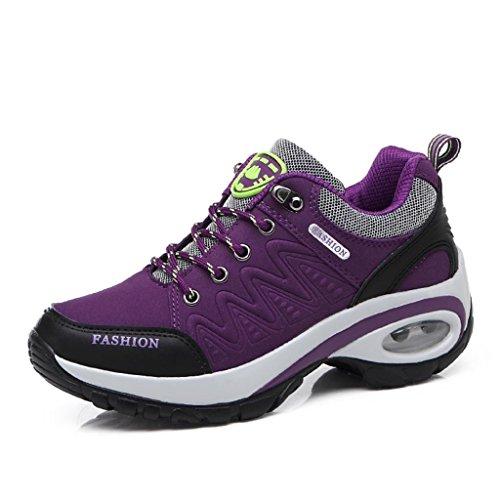 T-Gold Air Donna Scarpe da Ginnastica Casual all'Aperto Scarpe Sportive Running Fitness Sneakers,Altezza Tacco 6CM(EU 39,Porpora)