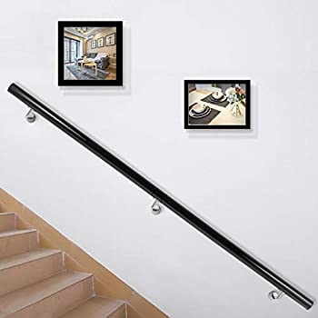 Happybuy Stair Handrail 6ft Length Stair Rail Aluminum Modern Handrails for Stairs 200lbs Load Capacity Stairway Railing Long Steel Pipes Hand Rails for Indoor Outdoor Stairs Wall Mount Staircase