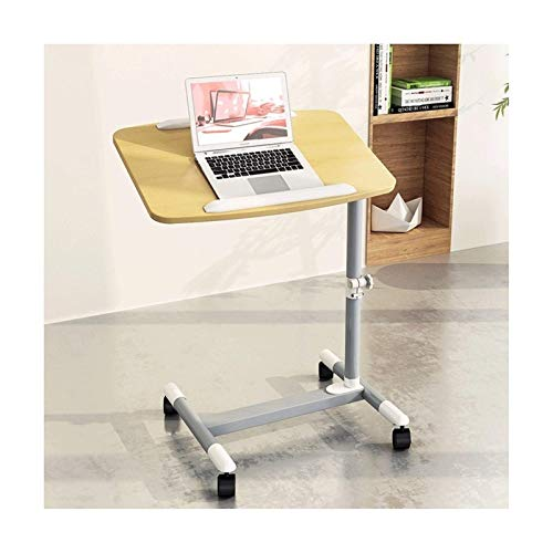 N/Z Home Equipment Mobile Overbed Table Laptop Desk Adjustable Laptop Stand Sit Stand Desk Cart With Wheels Solid And Superior Stability Table with Wheels Over bed (Color : Oak color)